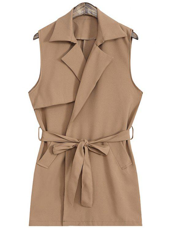 affordable Tie Up Pocket Sleeveless Waistcoat - LIGHT COFFEE ONE SIZE(FIT SIZE XS TO M)