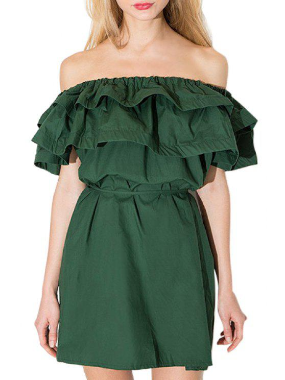 women's Solid Color Ruffle Spliced Slash Neck Dress - BLACKISH GREEN S