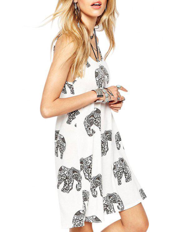 women's Full Elephant Print Spaghetti Strap Dress - WHITE S