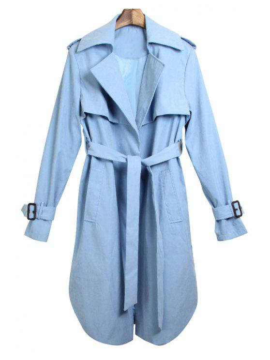 outfits Solid Color Pocket Design Trench Coat - BLUE S