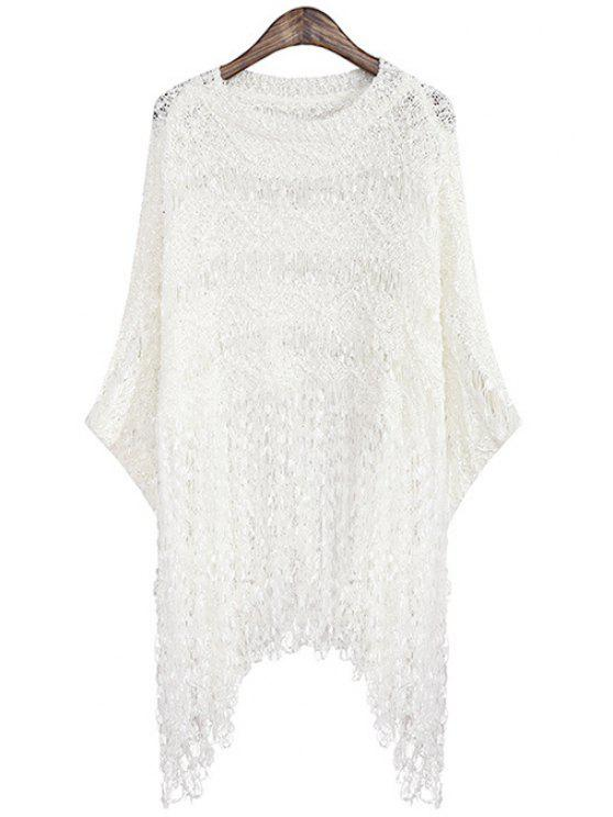 buy Fringe Openwork Long Sleeve Sweater - WHITE ONE SIZE(FIT SIZE XS TO M)