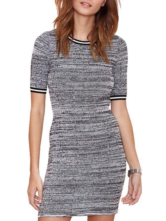 shops Gray Short Sleeve Sweater Dress - GRAY 2XL