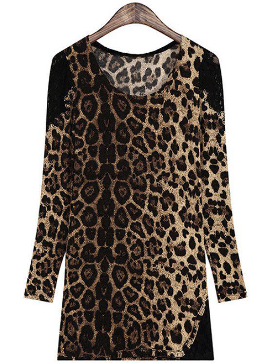 Leopardo Pattern Lace Splicing T-Shirt de manga comprida - Café Tamanho Único(Ajusta