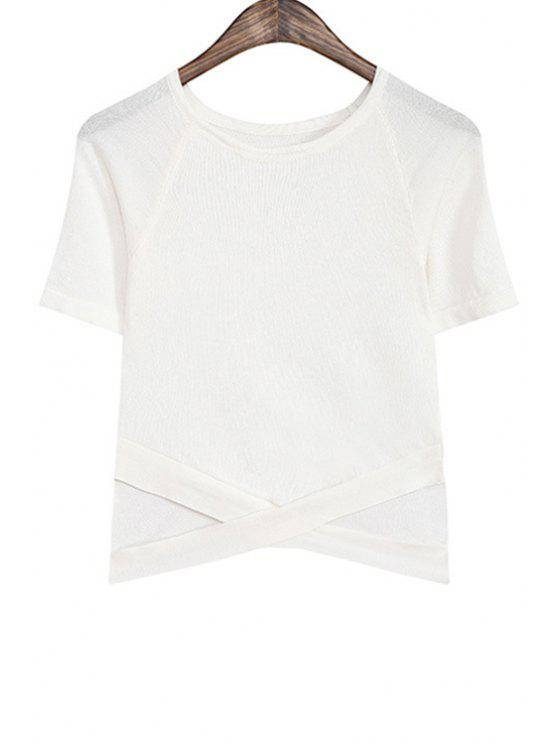 women's Cross Hollow Out Short Sleeve Sweater - WHITE ONE SIZE(FIT SIZE XS TO M)