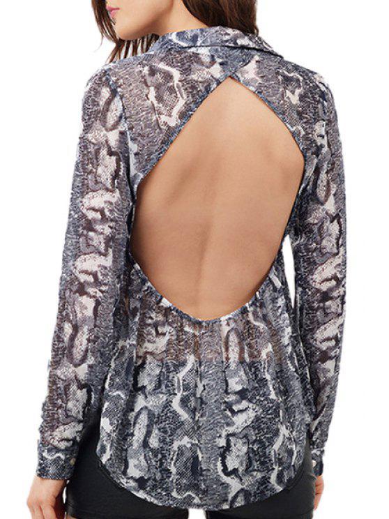 trendy Snake Print Turn-Down Collar Long Sleeve Shirt - BLACK GREY S