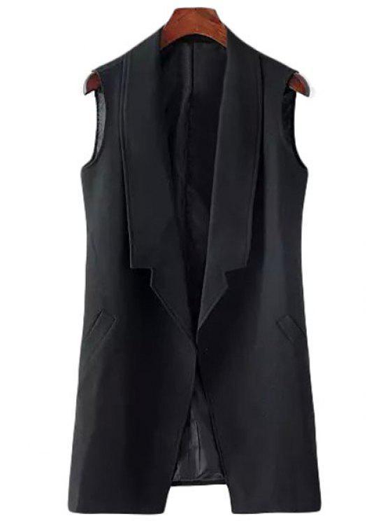 women Turn-Down Collar Solid Color Sleeveless Waistcoat - BLACK M