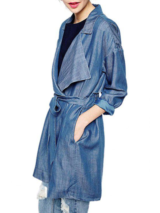outfits Blue Denim Lapel Long Sleeve Trench - BLUE S