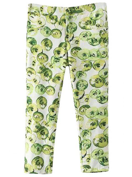 chic Green Apple Print Pants - AS THE PICTURE S