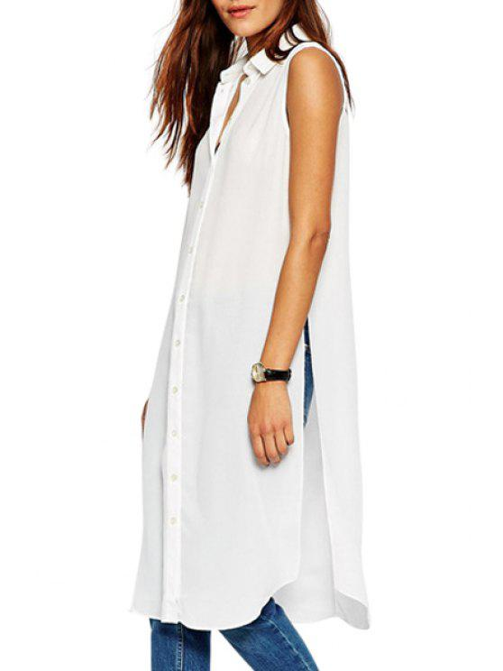 women's White Chiffon Sleeveless Shirt - WHITE S