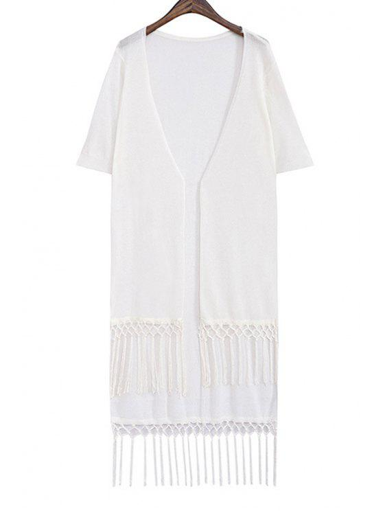 outfits Solid Color Tassels Spliced Cardigan - WHITE ONE SIZE(FIT SIZE XS TO M)