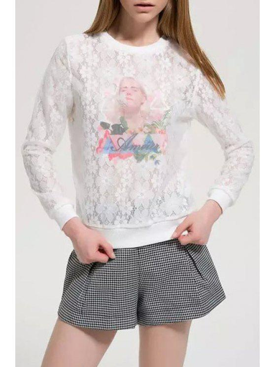 ladies Figure Letter Print Lace Long Sleeve Sweatshirt - WHITE S