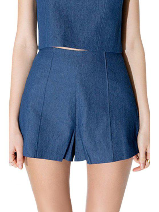 best Blue Denim High Waisted Shorts - BLUE S