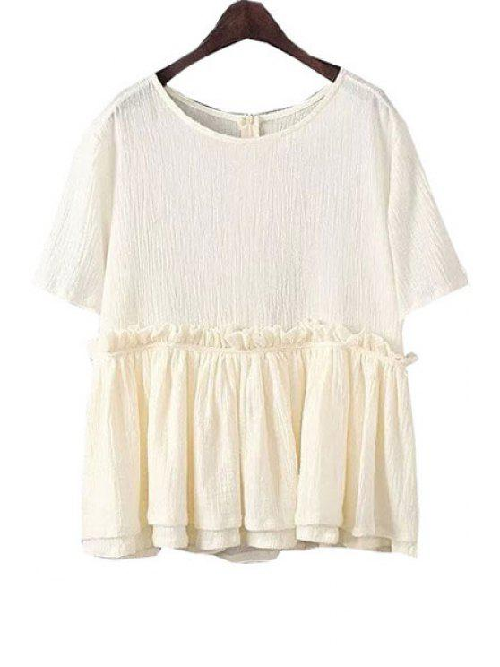 shops Flounce Multi-Layered Short Sleeve Blouse - OFF-WHITE ONE SIZE(FIT SIZE XS TO M)