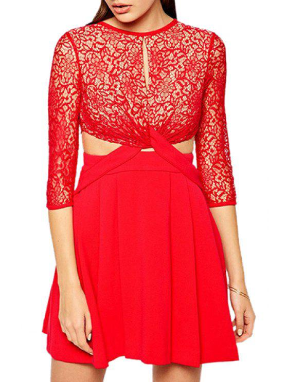 new Red Lace Spliced 3/4 Sleeve Dress - RED S