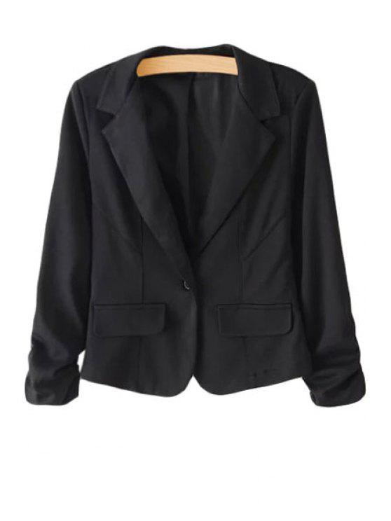 new Lapel Solid Color Ruffle Long Sleeve Blazer - BLACK S