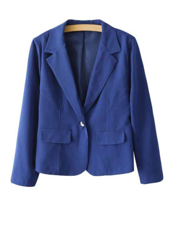 latest Lapel One Button Solid Color Long Sleeve Blazer - BLUE S