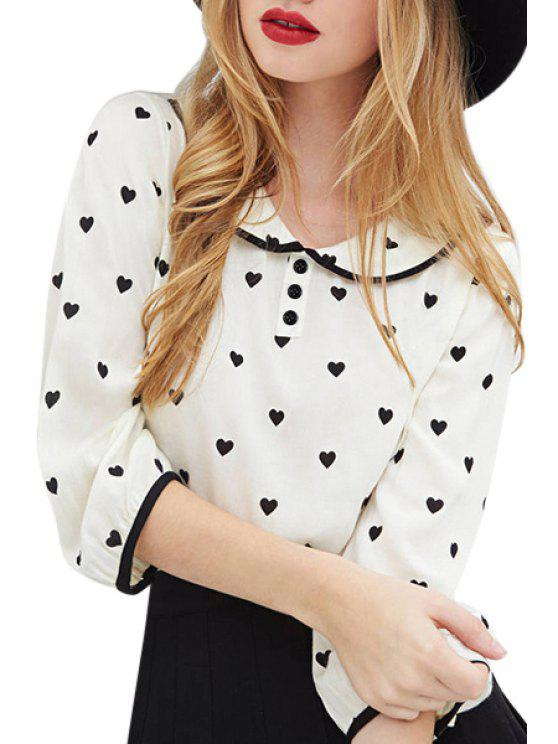 outfit Heart Print 3/4 Sleeve Shirt - WHITE S