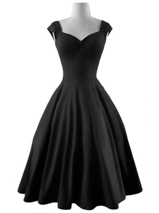women's Reversible Solid Color Ball Gown Dress - BLACK L