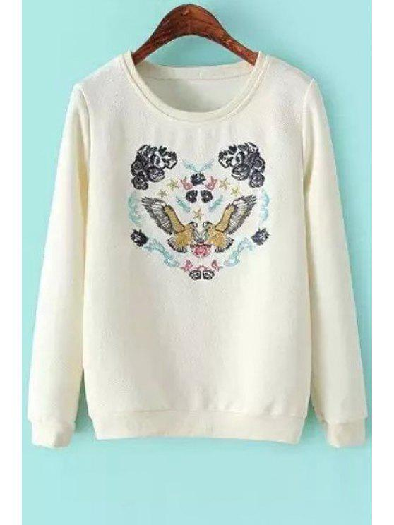 trendy Bird Embroidery Long Sleeve Sweatshirt - WHITE S