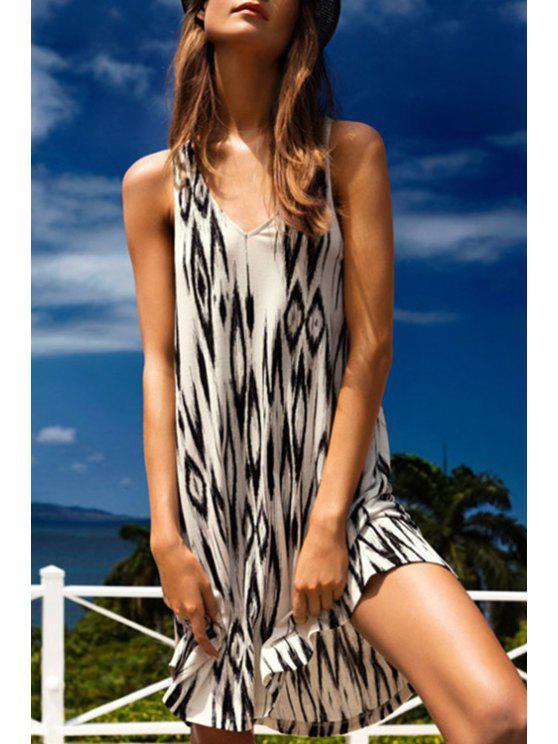 new Argyle Print V Neck Sleeveless Dress - WHITE AND BLACK S