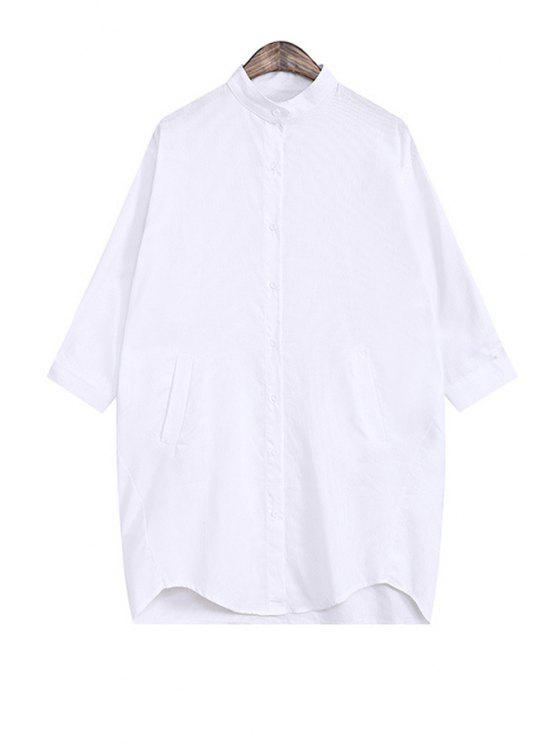 new Solid Color Single-Breasted Loose-Fitting Shirt - WHITE ONE SIZE(FIT SIZE XS TO M)