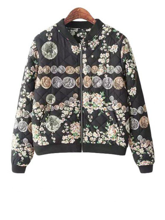 lady Floral Copper Cash Print Long Sleeve Coat - COLORMIX S