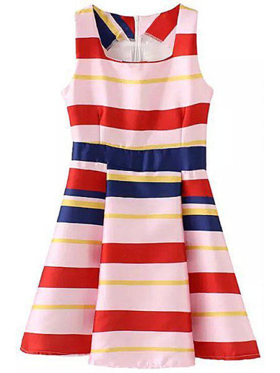 latest Square Neck Color Block Stripe Dress - COLORMIX M