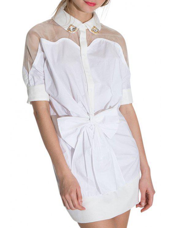 shops Voile Spliced White Turn-Down Collar Dress - WHITE S