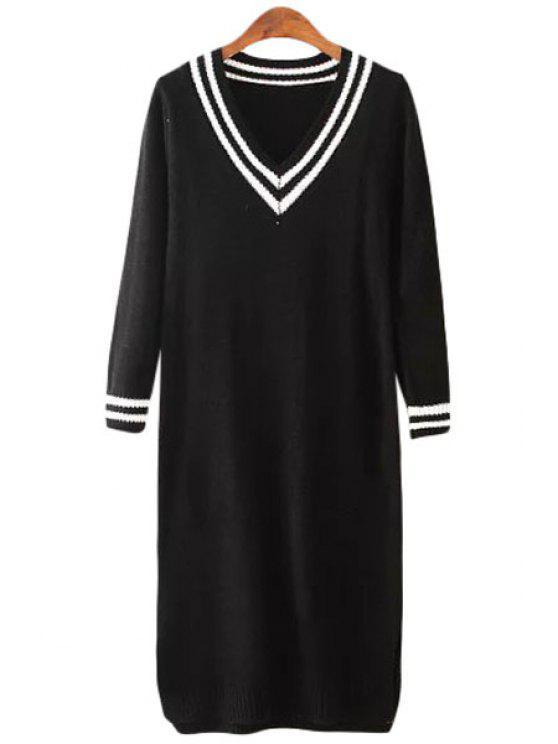 chic V-Neck White Stripe Long Sleeve Dress - BLACK ONE SIZE(FIT SIZE XS TO M)