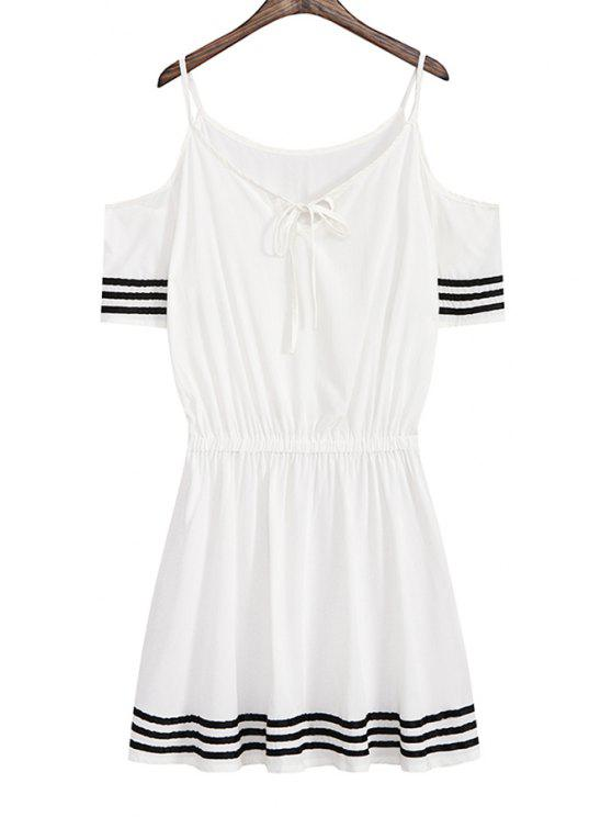 ladies Striped Lace-Up Elastic Waist Dress - WHITE ONE SIZE(FIT SIZE XS TO M)