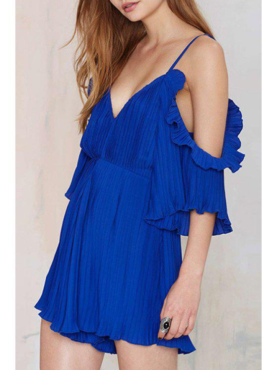 unique Solid Color Pleated Spaghetti Straps Playsuit - SAPPHIRE BLUE S