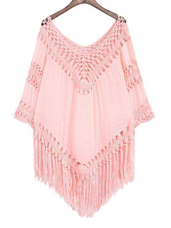 new Hollow Out Tassels Spliced Solid Color Blouse - PINK ONE SIZE(FIT SIZE XS TO M)