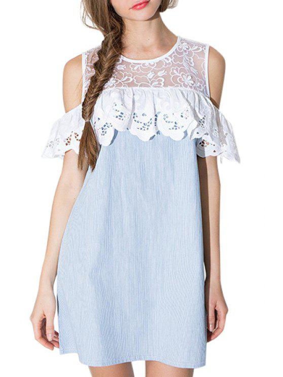 women Lace Spliced Hollow Out Striped Dress - LIGHT BLUE S