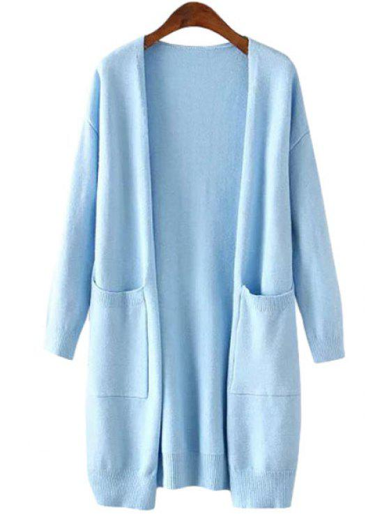fancy Collarless Pockets Solid Color Long Sleeve Cardigan - AZURE ONE SIZE(FIT SIZE XS TO M)