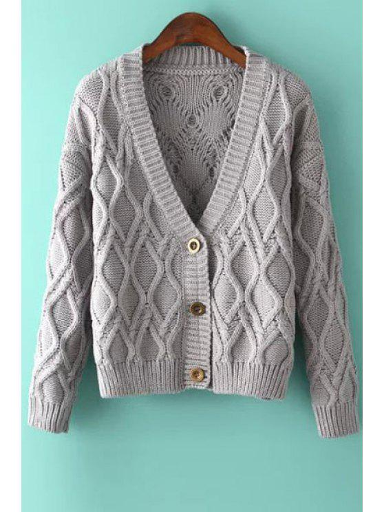 unique Solid Color Argyle Long Sleeve Cardigan - GRAY ONE SIZE(FIT SIZE XS TO M)