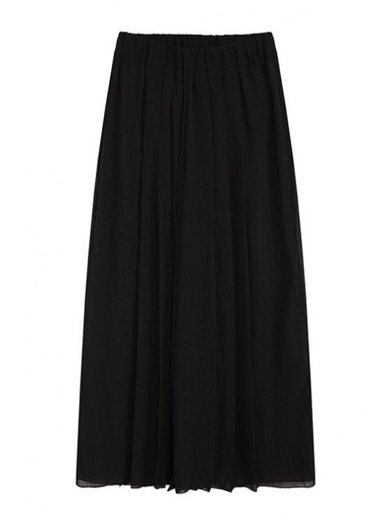 best Wide Leg Pure Color Pleated Chiffon Pants - BLACK ONE SIZE(FIT SIZE XS TO M)