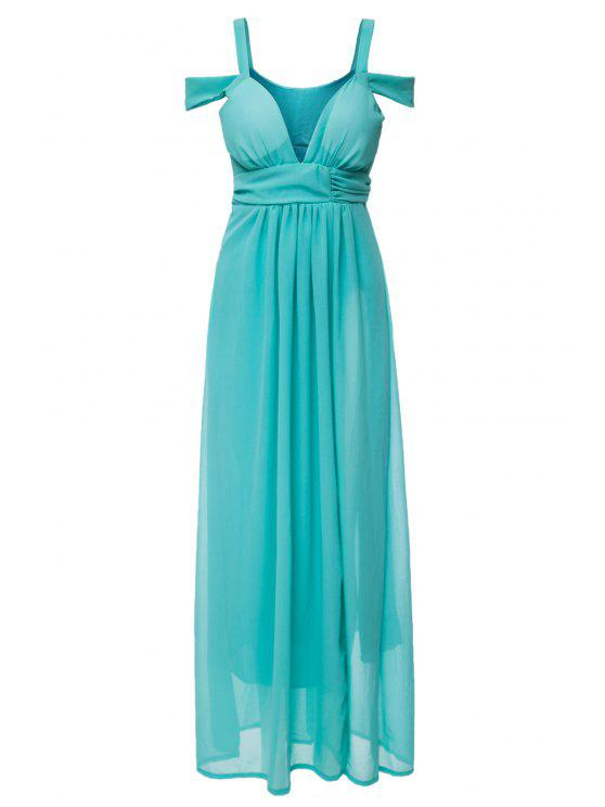 outfits Solid Color Side Slit V-Neck Maxi Dress - GREEN S