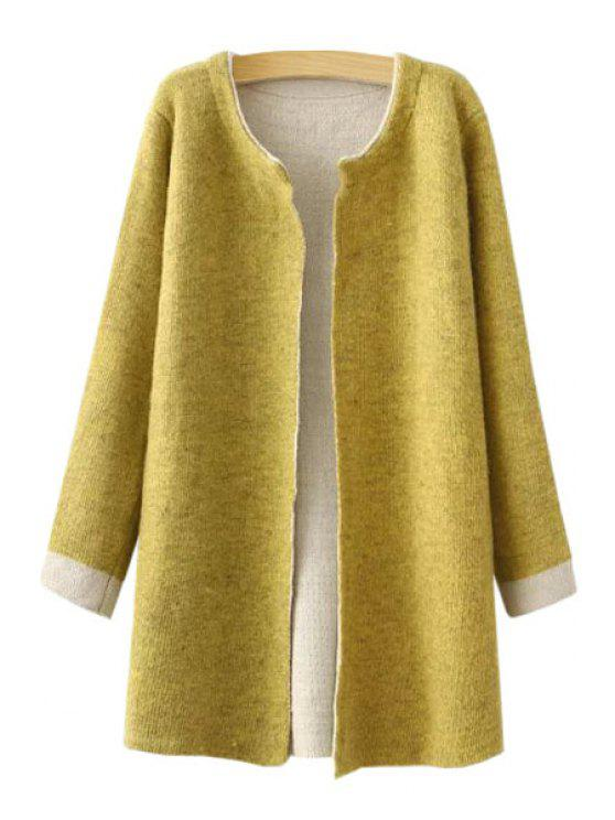 ladies Jewel Neck Color Block Long Sleeve Cardigan - YELLOW ONE SIZE(FIT SIZE XS TO M)
