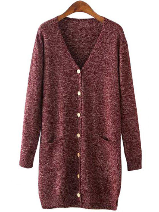 new V Neck Button Fly Pocket Long Sleeve Cardian - DARK RED ONE SIZE(FIT SIZE XS TO M)