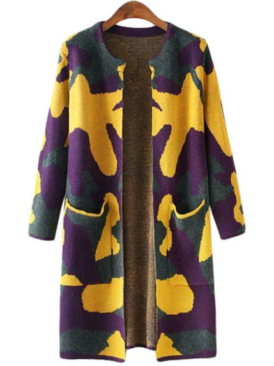 latest Camouflage Pattern Pocket Long Sleeve Cardigan - DEEP YELLOW ONE SIZE(FIT SIZE XS TO M)