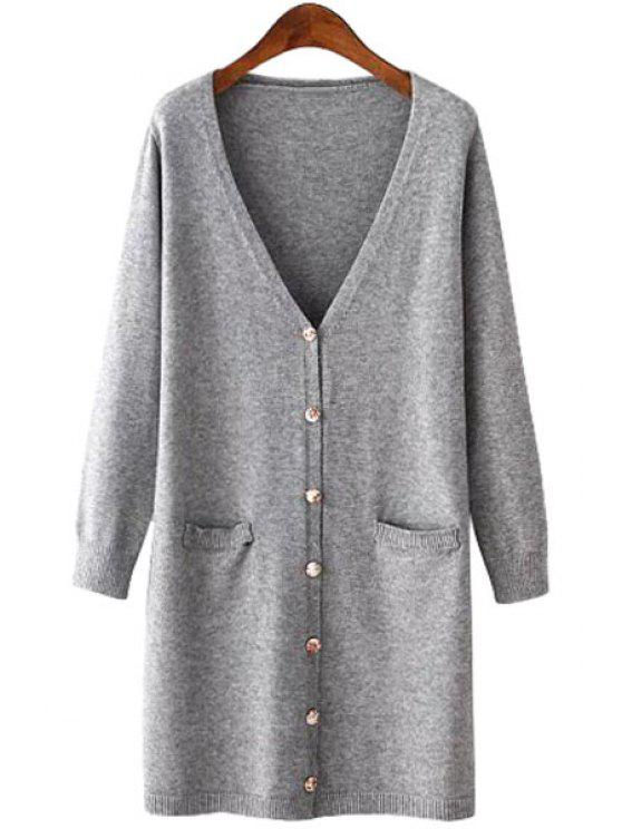 affordable Seven Buttons Solid Color Long Sleeve Cardigan - GRAY ONE SIZE(FIT SIZE XS TO M)