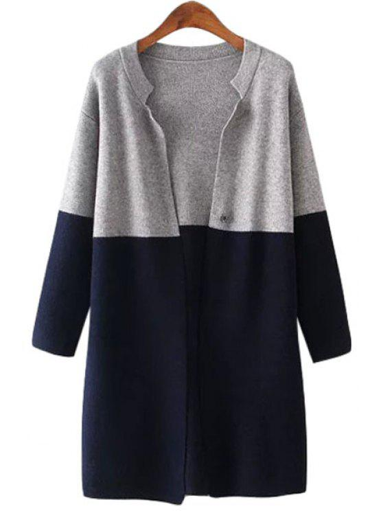 hot Stand-Up Collar Color Block Long Sleeve Cardigan - CADETBLUE ONE SIZE(FIT SIZE XS TO M)