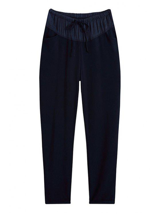 outfit Solid Color Pocket Design Loose-Fitting Pants - DEEP BLUE M