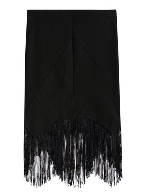 buy Black Tassels Spliced Asymmetrical Bodycon Skirt - BLACK ONE SIZE(FIT SIZE XS TO M)