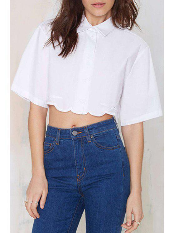 chic White Ripple Edging Half Sleeve Shirt - WHITE S