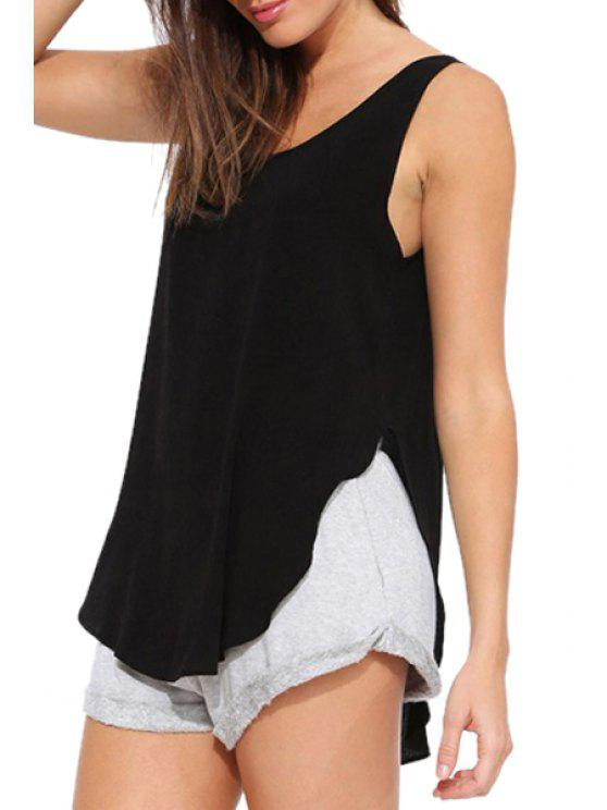 outfit Scoop Neck Backless Solid Color Tank Top - BLACK S