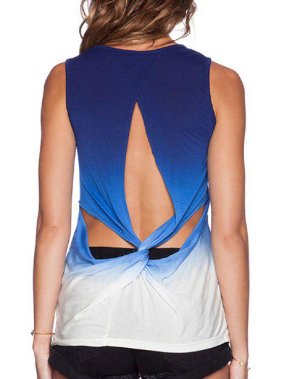 sale Ombre Backless Cross Sleeveless Tank Top - BLUE S