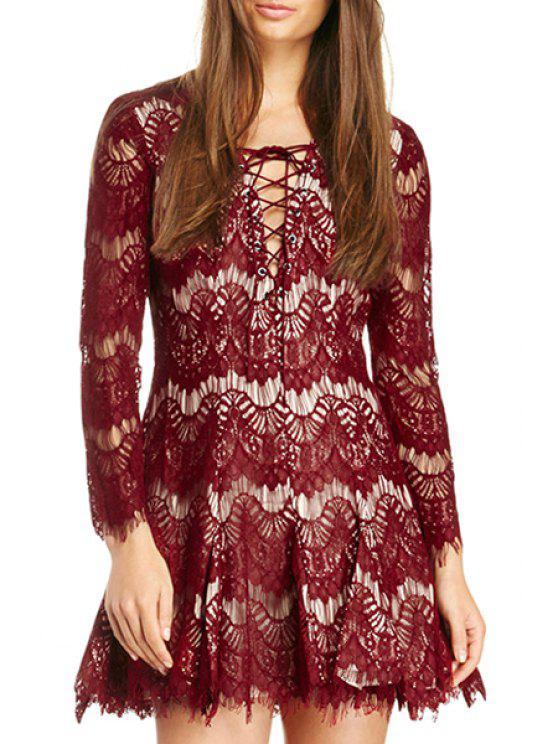 fancy See-Through Tie-Up Lace Long Sleeve Dress - WINE RED S