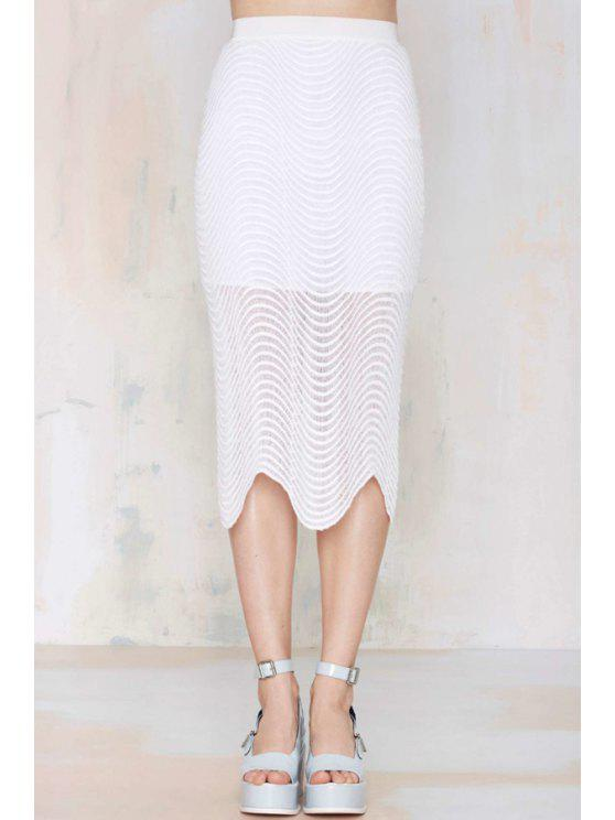 best White Ripple Zipper Fly Skirt - WHITE S