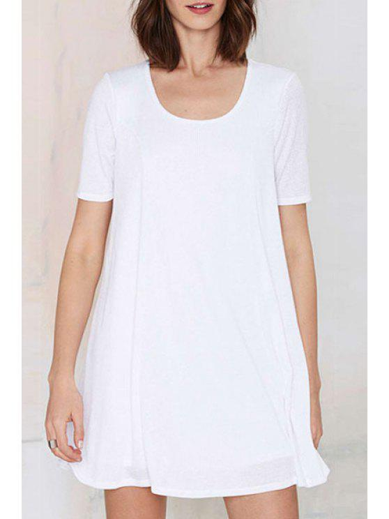 chic Scoop Neck Solid Color Short Sleeve Dress - WHITE S